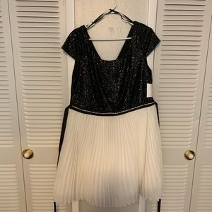 Trixxi Dresses - Black and white glitter dress.